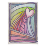 Flying Heart Rainbow Stained Glass Drawing Posters