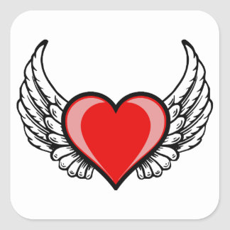 Flying Heart Square Sticker