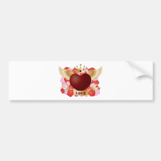 Flying Heart with Banner and Roses Bumper Sticker
