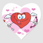 Flying Heart with Bow and Arrow Heart Sticker