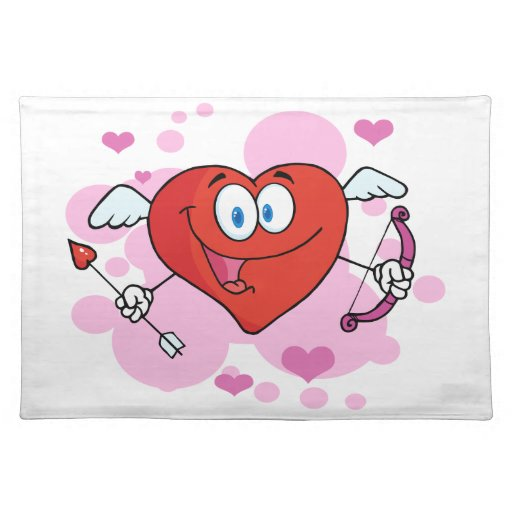 Flying Heart with Bow and Arrow Placemats