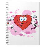 Flying Heart with Bow and Arrow Spiral Notebook