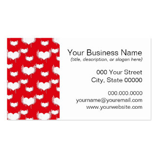 Flying Hearts Red and White Valentine s Pattern Business Card