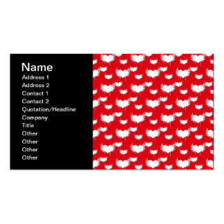 Flying Hearts Red and White Valentine s Pattern Business Card Template