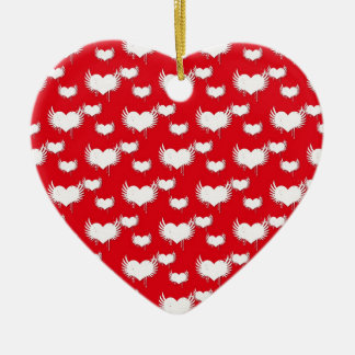 Flying Hearts Red and White Valentine's Pattern Ceramic Ornament