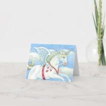 FLYING HEARTS UNICORN, PEGASUS NOTE CARD Blank