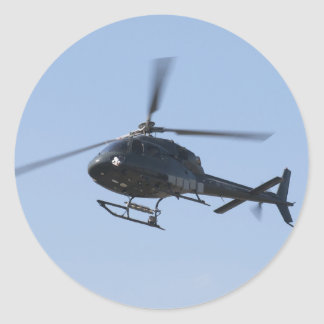 Flying helicopter classic round sticker