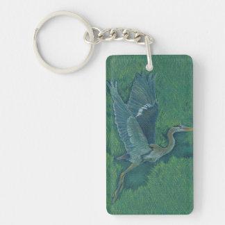Flying Heron Single-Sided Rectangular Acrylic Keychain
