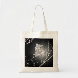 Flying Heron on Black Background Tote Bag