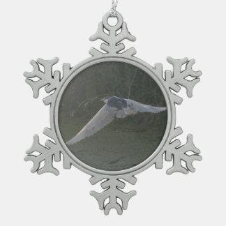 Flying Heron Snowflake Pewter Christmas Ornament