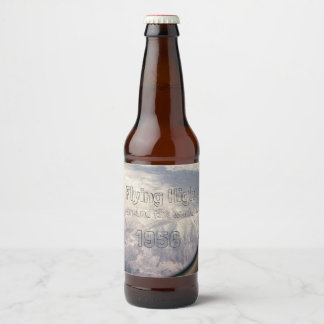 Flying High Around the World Mountain Landscape Beer Bottle Label