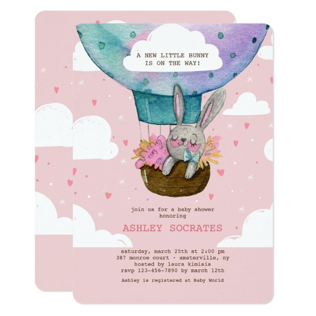 Flying High Bunny Baby Shower Invitation | Zazzle