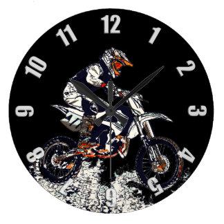 Flying High Motocross Dirt-Bike Racer Large Clock