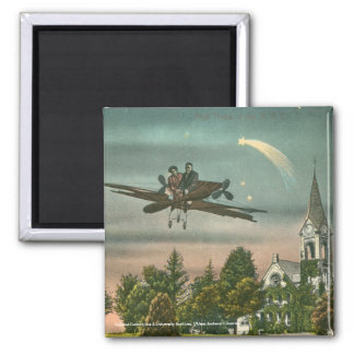 Flying High Over Old Chapel 2 Inch Square Magnet
