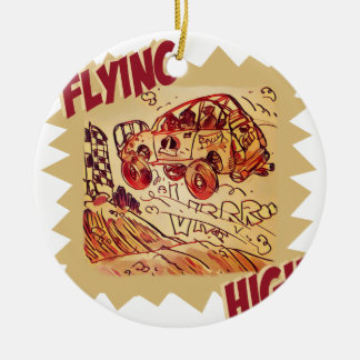flying high rally car ceramic ornament