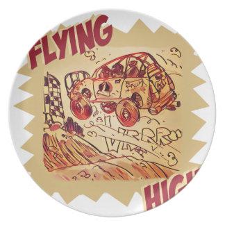 flying high rally car dinner plate