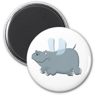 Flying Hippo 2 Inch Round Magnet