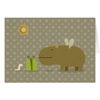 Flying Hippo and his friend Little Worm Card