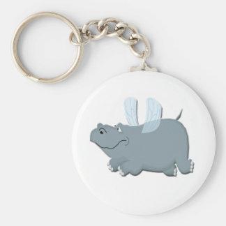 Flying Hippo Basic Round Button Keychain