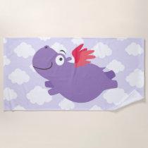 Flying Hippo Illustration Beach Towel