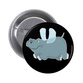 Flying Hippo Pinback Button
