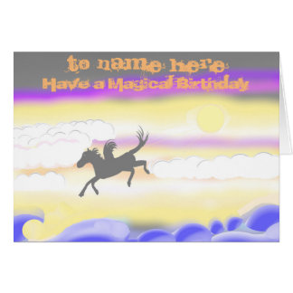 Flying Horse Birthday add name front Card