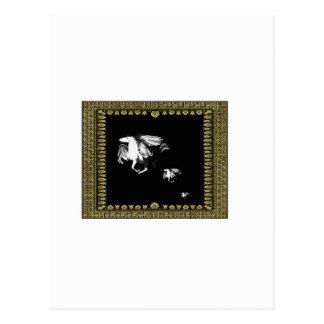 flying horse in frame postcard