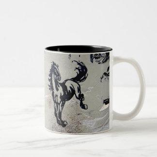 """Flying Horses"" Two-Tone Coffee Mug"