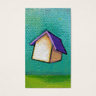 Flying house traveling home fun colorful happy art business card