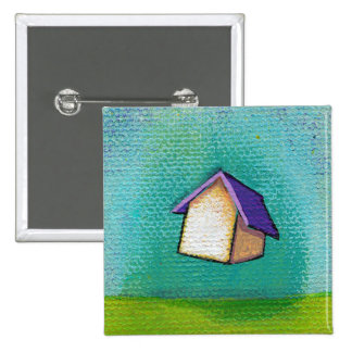 Flying house traveling home fun colorful happy art pinback button