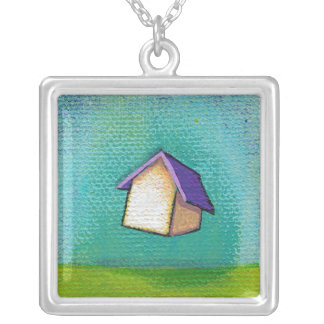 Flying house traveling home fun colorful happy art silver plated necklace