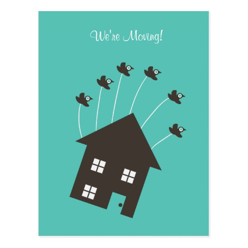 Flying House - We're Moving - Post Card postcard