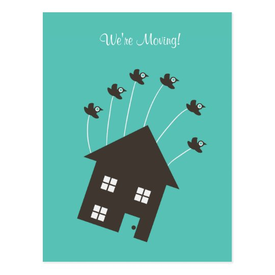 Flying House - We're Moving - Post Card