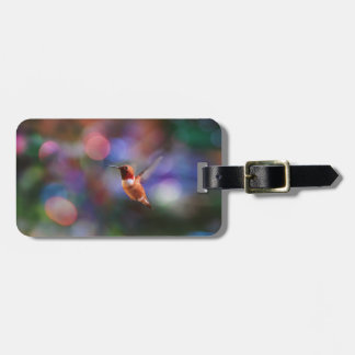 Flying Hummingbird and Colorful Background Bag Tag