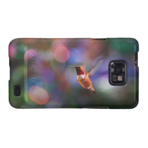 Flying Hummingbird and Colorful Background Galaxy S2 Cases
