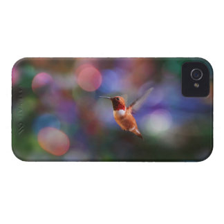 Flying Hummingbird and Colorful Background iPhone 4 Cases