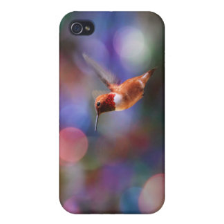 Flying Hummingbird and Colorful Background iPhone 4/4S Case