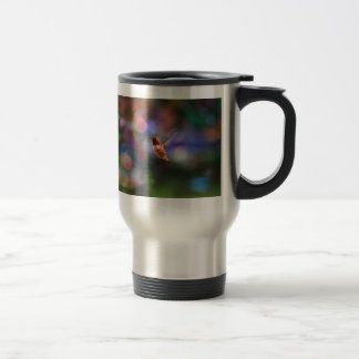 Flying Hummingbird and Colorful Background Coffee Mugs