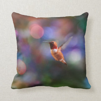 Flying Hummingbird and Colorful Background Pillow