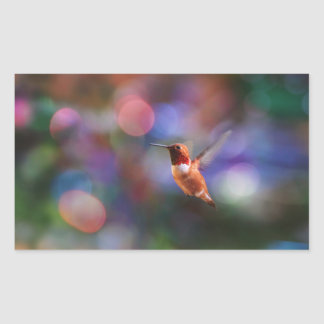 Flying Hummingbird and Colorful Background Rectangular Sticker