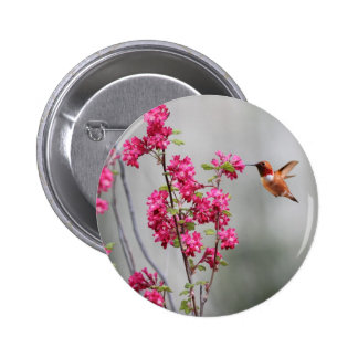Flying Hummingbird and Flowers Pin