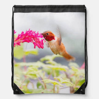 Flying Hummingbird and Flowers Drawstring Backpacks