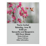 Flying Hummingbird and Flowers 4.25x5.5 Paper Invitation Card