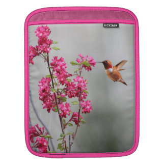 Flying Hummingbird and Flowers Sleeve For iPads