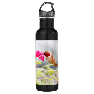 Flying Hummingbird and Flowers Water Bottle