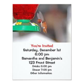 """Flying Hummingbird and Hummingbird Feeder 4.25"""" X 5.5"""" Invitation Card"""