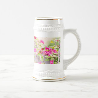 Flying Hummingbird and Red Currant Flowers Beer Stein