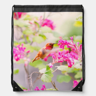 Flying Hummingbird and Red Currant Flowers Drawstring Bags