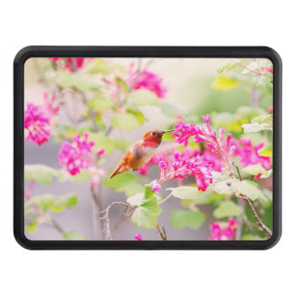 Flying Hummingbird and Red Currant Flowers Hitch Cover