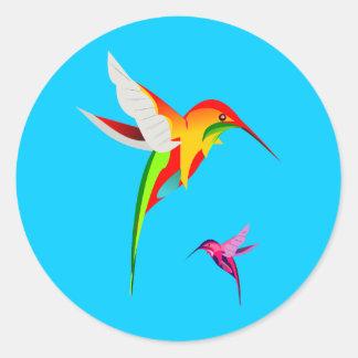 Flying Hummingbirds Classic Round Sticker